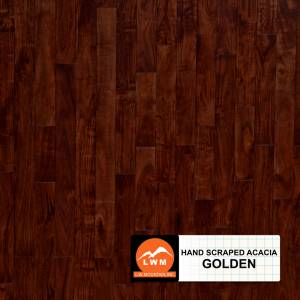 "Hand-Scraped Small Leaf Acacia Collection by LW Mountain Solid Hardwood 4-3/4"" Acacia - Golden"