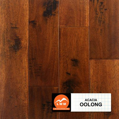 "Hand-Scraped Wide Leaf Acacia Collection by LW Mountain Solid Hardwood 4-3/4"" Acacia - Oolong"