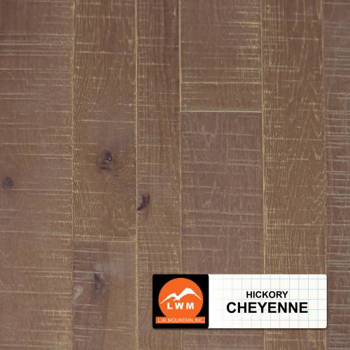 Multi-Widith Solid Distressed Saw Marks Hickory Collection 2-1/4 in. 3-1/4 in. 4-1/4 in. Hickory - Cheyenne