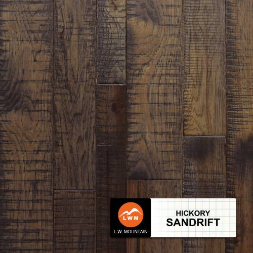 Multi-Widith Solid Distressed Saw Marks Hickory Collection 2-1/4 in. 3-1/4 in. 4-1/4 in. Hickory - Sandrift