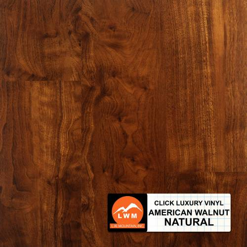 LVP Click Collection by LW Mountain Vinyl Plank 7x48 American Walnut Natural