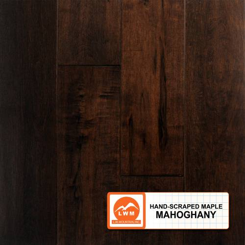 "Hand-Scraped Maple Collection by LW Mountain Solid Hardwood 4-15/16"" Maple - Mahogany"