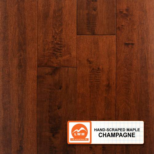 "Hand-Scraped Maple Collection by LW Mountain Solid Hardwood 4-15/16"" Maple - Champagne"