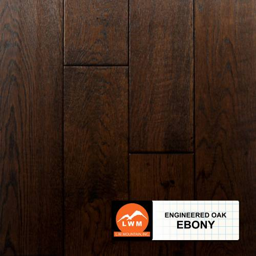 "Long Strip Oak Collection by LW Mountain Engineered Hardwood 7-1/2"" Oak - Ebony"