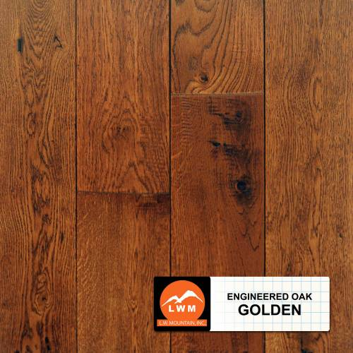 "Long Strip Oak Collection by LW Mountain Engineered Hardwood 7-1/2"" Oak - Golden"