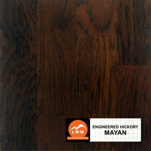 "Smooth Hickory Collection by LW Mountain Engineered Hardwood 5"" Hickory - Mayan"