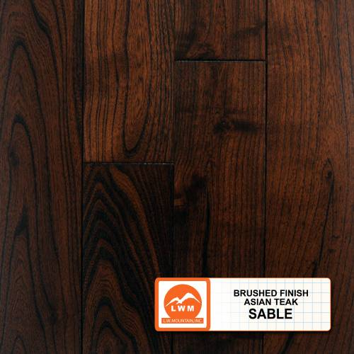 Wire Brushed Asian Teak in Sable - Solid 3/4 x 4-3/4