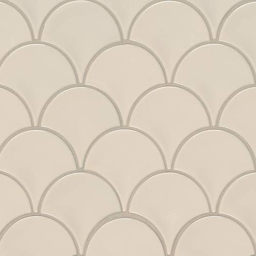 Domino Collection by MSI Stone Mosaic Tile Almond Glossy Fish Scale