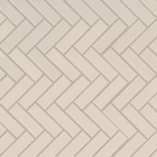 Domino Collection by MSI Stone Mosaic Tile Almond Glossy Herringbone