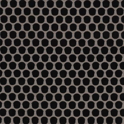 Domino Collection by MSI Stone Mosaic Tile Black Glossy Penny Round