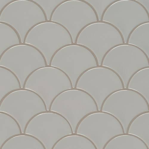 Domino Collection by MSI Stone Mosaic Tile Gray Glossy Fish Scale