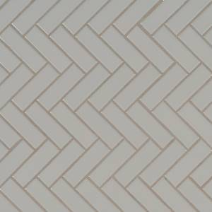 Domino Collection by MSI Stone Mosaic Tile Gray Glossy Herringbone