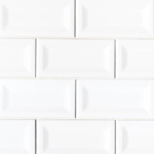 Domino Collection by MSI Stone Ceramic Tile 3x6 White Glossy Inverted Beveled