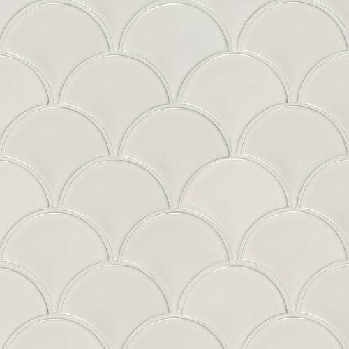 Domino Collection by MSI Stone Mosaic Tile White Glossy Fish Scale