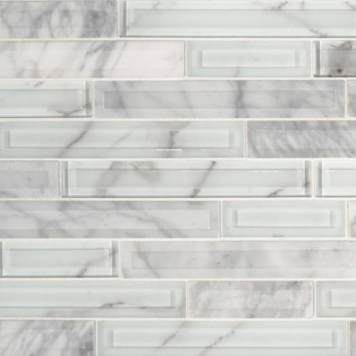 Glass Stone Mosaic Tile by MSI Stone Blocki Blanco Interlocking