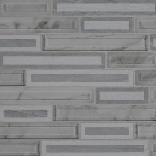 Glass Stone Mosaic Tile by MSI Stone Blocki Grigio Interlocking