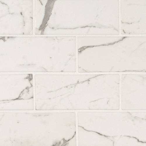 Glass Mosaic Tile by MSI Stone 3x6 Statuario Celano