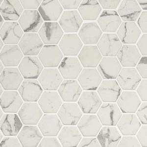 Glass Mosaic Tile by MSI Stone 2x2 Statuario Celano Hexagon