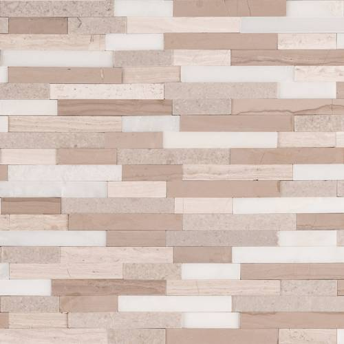 Peel and Stick Stacked Stone Collection by MSI Stone Mosaic Tile Arctic Storm Interlocking 3D