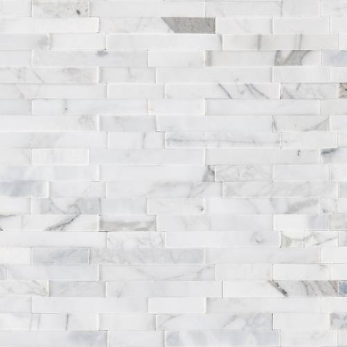Peel and Stick Stacked Stone Collection by MSI Stone Mosaic Tile Calacatta Cressa Interlocking 3D