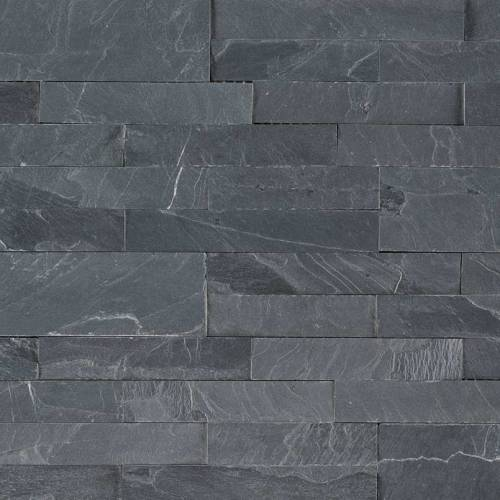 Peel and Stick Stacked Stone Collection by MSI Stone Mosaic Tile 6x22 Midnight Ash