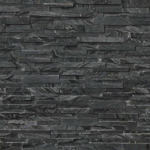 Glacial Black 3D Honed Ledger Panel
