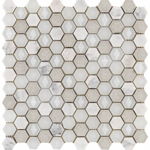 Aura Collection by Porcelanosa Mosaic Tile 11x12 Hexagon Whites
