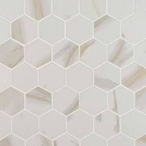 """Pietra Calacatta Collection by MSI Porcelain 2"""" Hexagon Matte 2x2 in."""