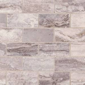 Pietra Bernini Carbone Collection by MSI Porcelain Tile Mosaic 2x4 in. Polished