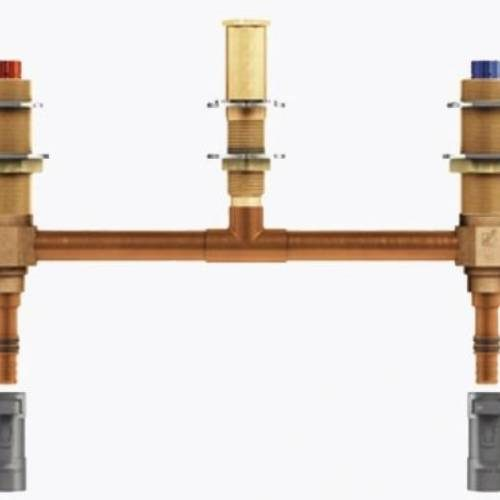 MOEN 4797: TWO HANDLE ROMAN TUB VALVE 10inch CENTER 1/2inch CPVC PEX CONNECTION