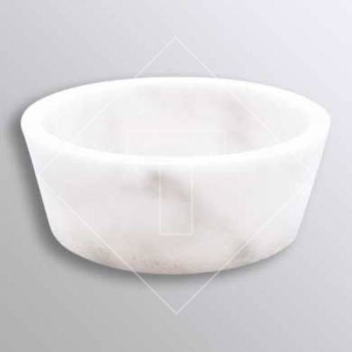 White Marble Conical Cylinder Vessel Sink - 16 Inch