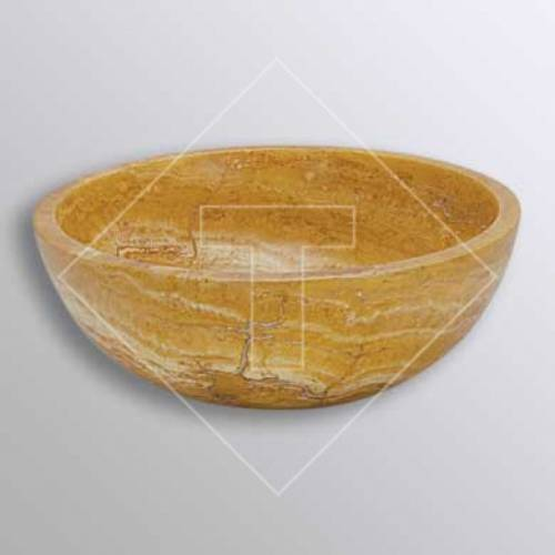 Yellow Sienna Travertine Vessel Sink - 16 Inch
