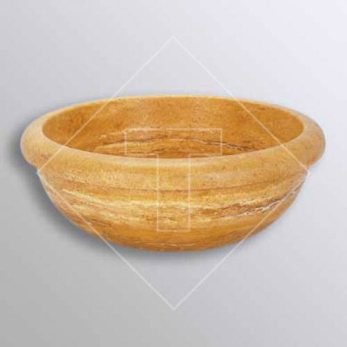 Yellow Sienna Travertine Drop-In Sink - 16 Inch
